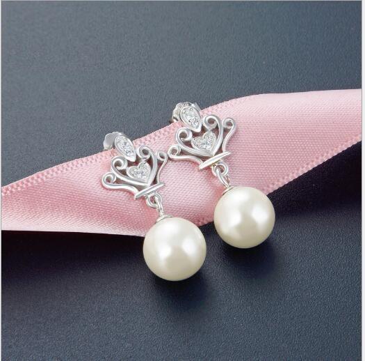 Toptan moda mizaç inci küpe küpe S925 gümüş elmas boncuk eğilim taç earrings433