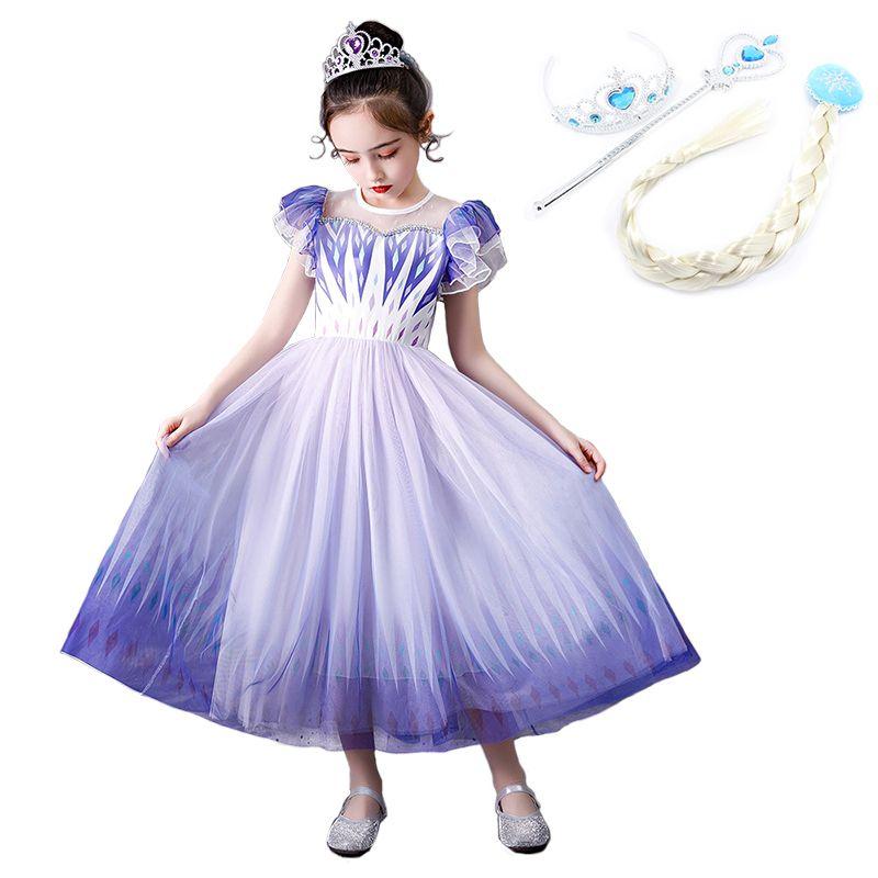 Traje Para Meninas Cosplay Anime Snow Queen 2 Cosplay Fantasia princesa vestido de verão para as meninas elegantes