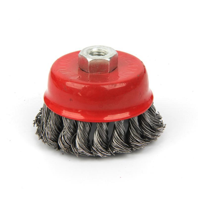 Deburring Paint Remove Twist Knot Edge Blending Angle Grinder Brush Red Steel Wire Wheel Rotary Flat Cup Metal Quick Strong