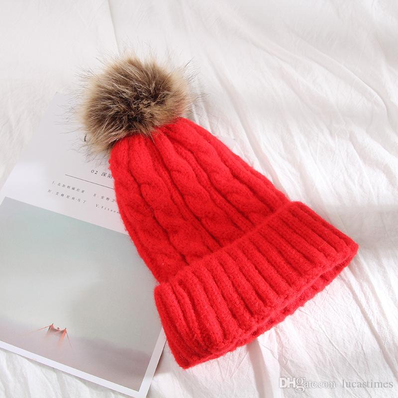 Kids Baby Winter Caps Champion Brand Designer Pompom Beanie Hats Luxury Junior Woolen Crochet Knit Skull Cap Child Outdoor Skiing Hat