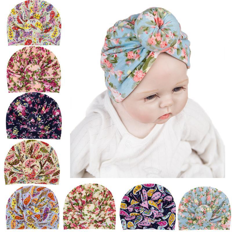 INS 유아 어린이 비니 보헤미안 터번 매듭 헤드 랩 유아 아기 소녀 모자 볼 매듭 꽃 모자 어린이 도너츠 Florals 모자 D3508