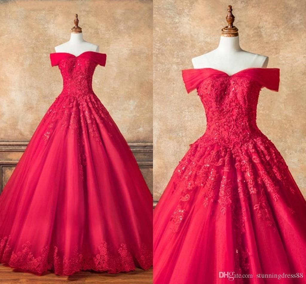 Мода с плеча Quinceanera выпускные платья красная принцесса с рукавами тюль кружева аппликация бисером дешевые сладкие 16 Vestidos de одеваются