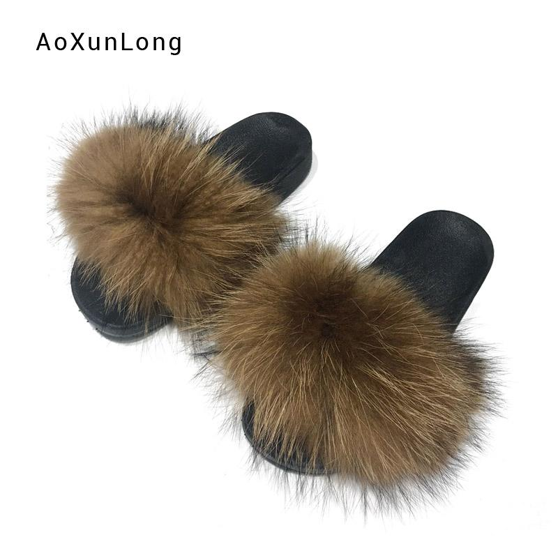 New Women Real Raccoon Fur Slippers Home Indoor Warm Raccoon Hair Slides Ladies Casual Fashion Multi-color Non-Slip Slippers