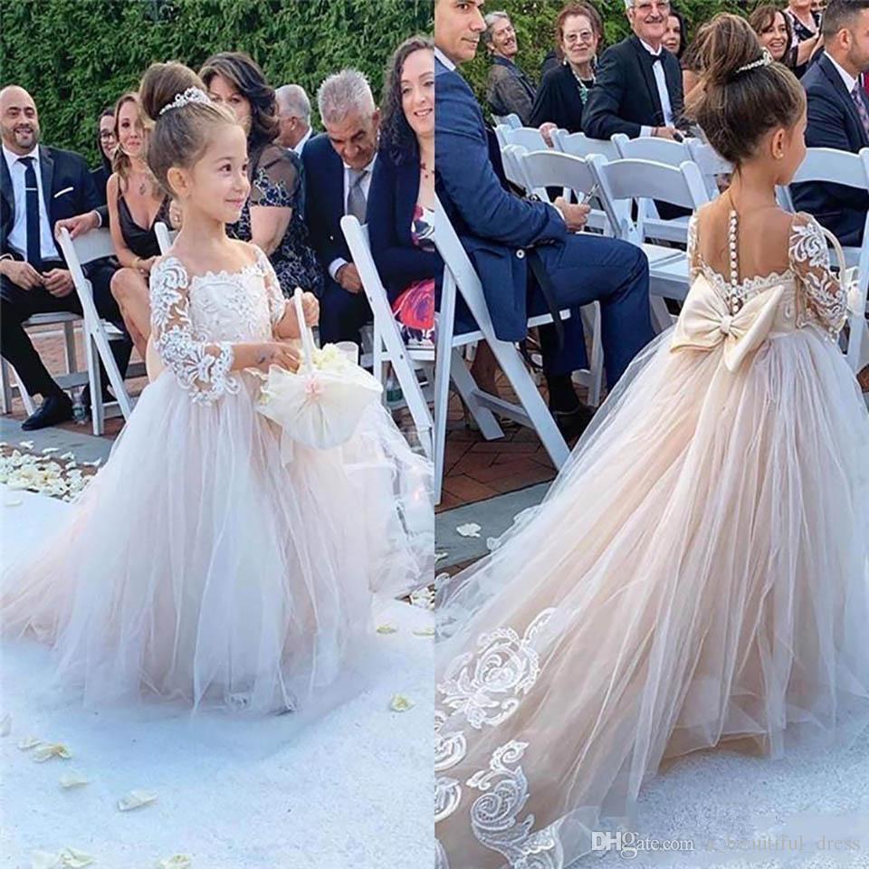 Çiçek Kız Elbise Düğün Allık Pembe Prenses Tutu Payetli Aplike Dantel Yay Çocuklar Prenses Çocuk Parti Doğum Günü Abiye