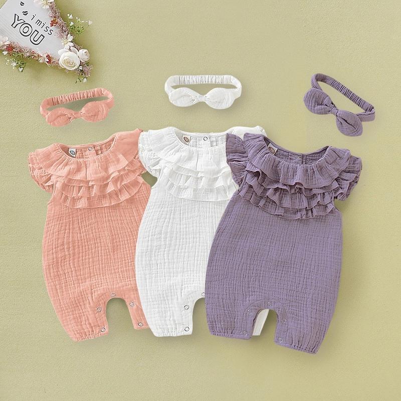 2pcs de la niña de lino de la ropa del volante bebés Romper + Bowknot con banda de sujeción / juego infantil dulce de algodón de lino Conjuntos Niños ropa M1978