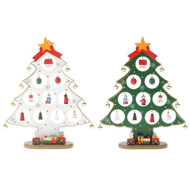 Творческое Вуд DIY рождественской елки Bell Украшение Xmas Party Таблица стол Декор