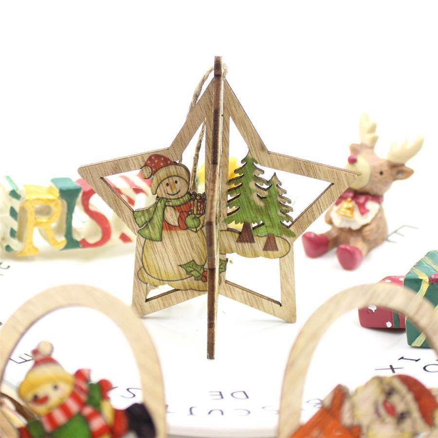 3D Christmas Wooden Pendant DIY Color Printing Santa Snowman Pendant Creative Christmas Tree Decoration Gift Kids toys