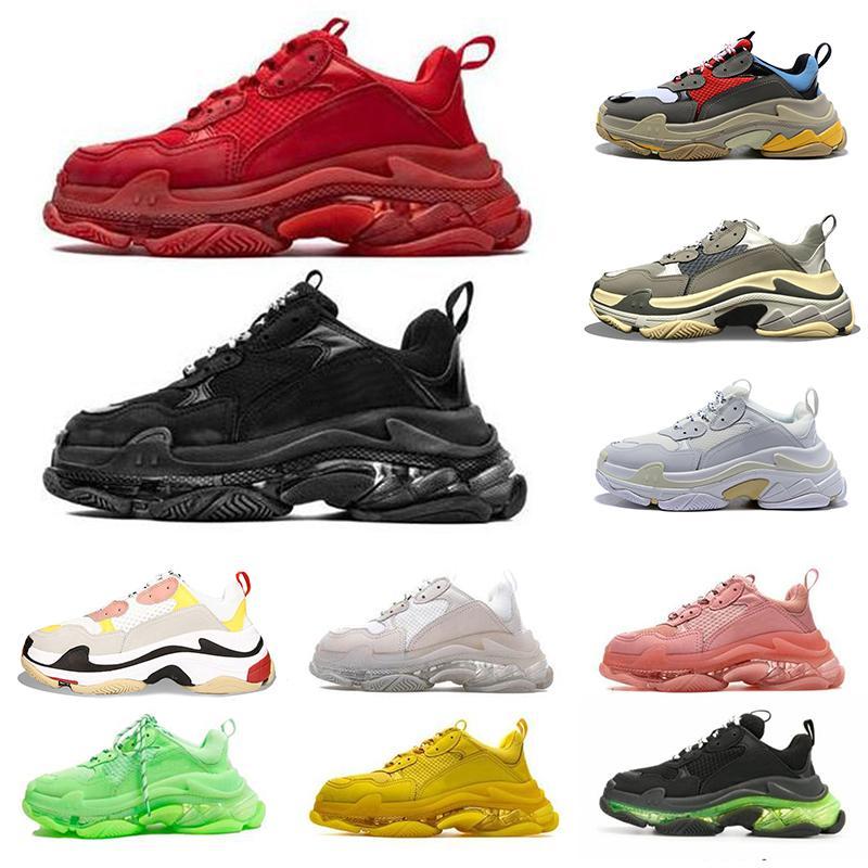 Balenciaga Triple-s de los hombres de los zapatos ocasionales 17 Zapatos FW Triple S zapatillas de deporte de la manera de las mujeres Triple Negro Rojo Nuevo deportes Tamaño