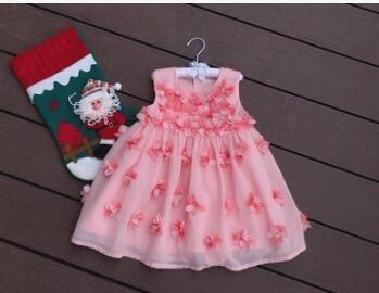 Wholesale Children Clothing Toddler Girls Summer Flower Sleeveless Dress Girls Ruffle Princess Dress for 2-7 yrs old Free Shipping