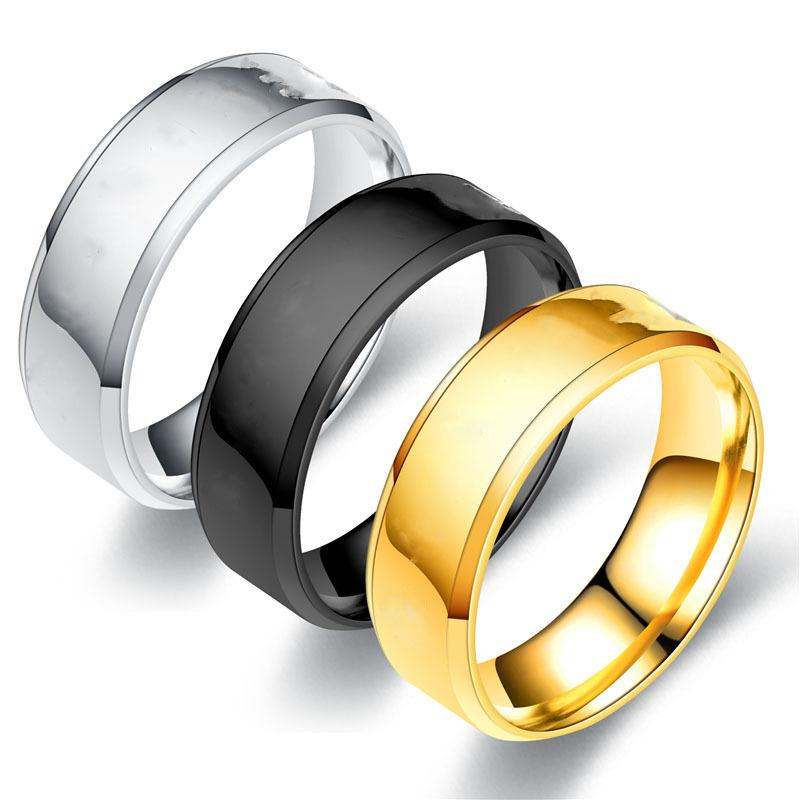 3 Colors 316L Stainless Steel Unisex Polished Blank Rings 6mm Tatanium Steel Personalized Jewelry Gifts for Men and Women Wholesale