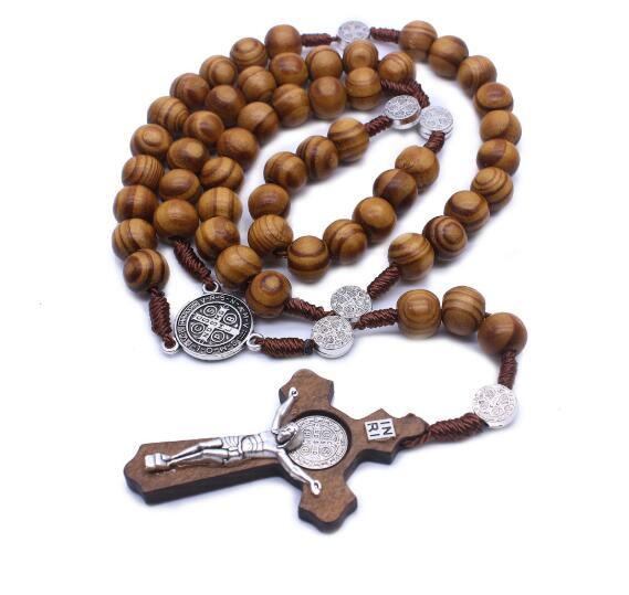 Men/'s Women/'s Wood Necklace Rosary with cross Jesus cross Pendant Necklace New