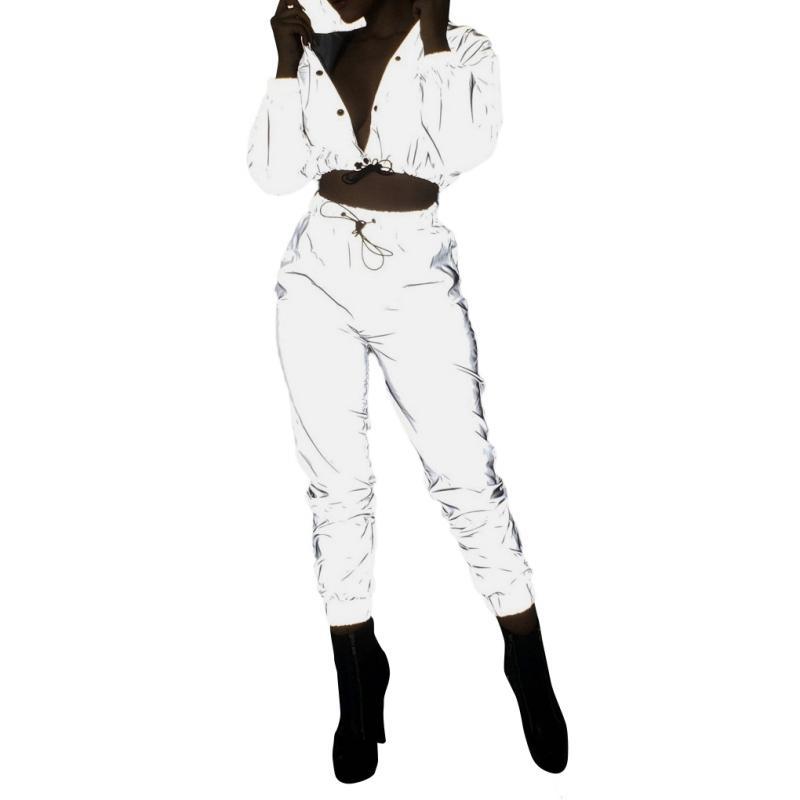 Senhoras Sexy Set Lapel Bolso Com Zíper Umbilical Camisa Calças De Cintura Alta Reflective Sports Suit
