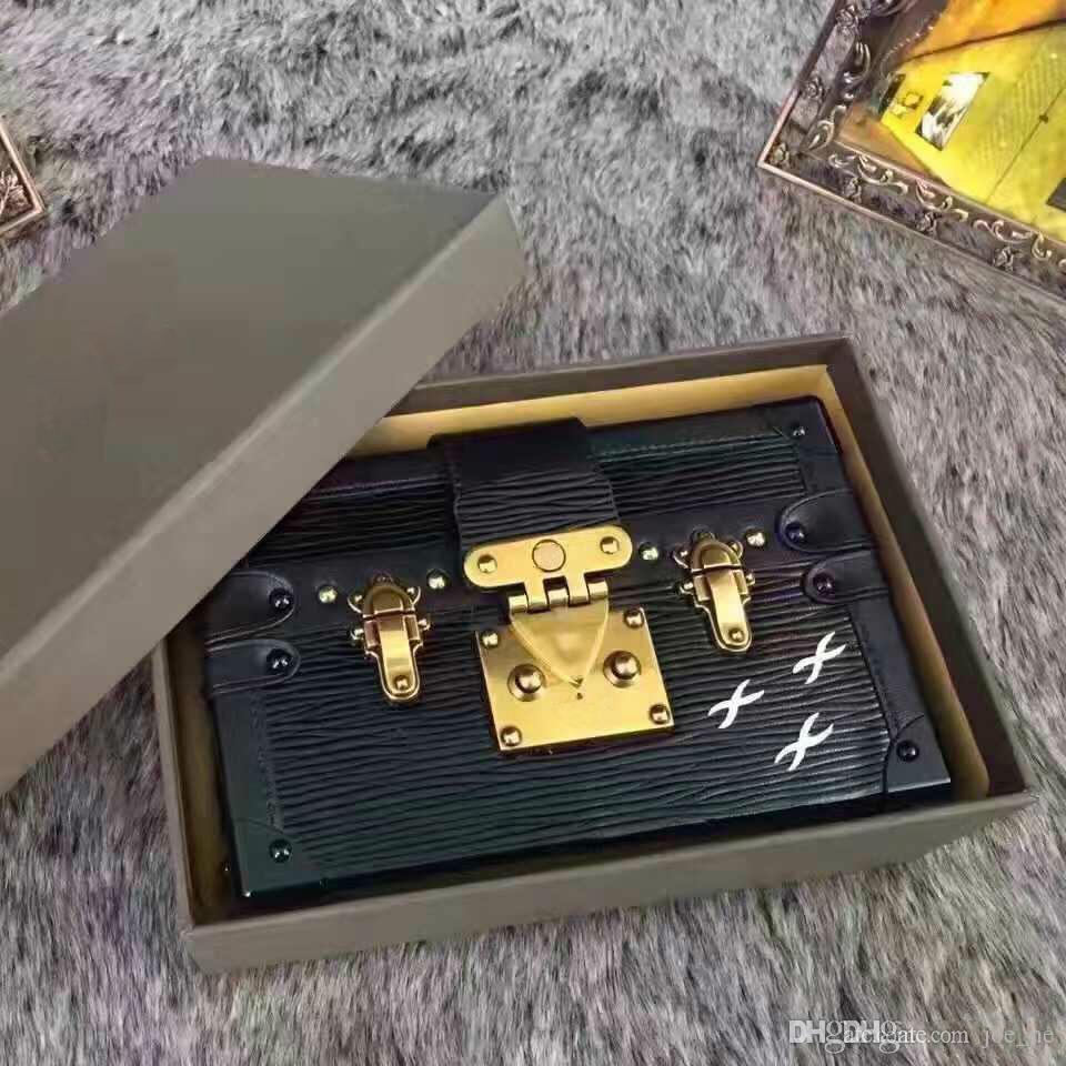 2019 Горячие продажи Роскошные сумки Вечерние сумки Leather Fashion Box Оптово-дизайнер сцепления кирпича Известный Messenger плеча мешок Petite Malle
