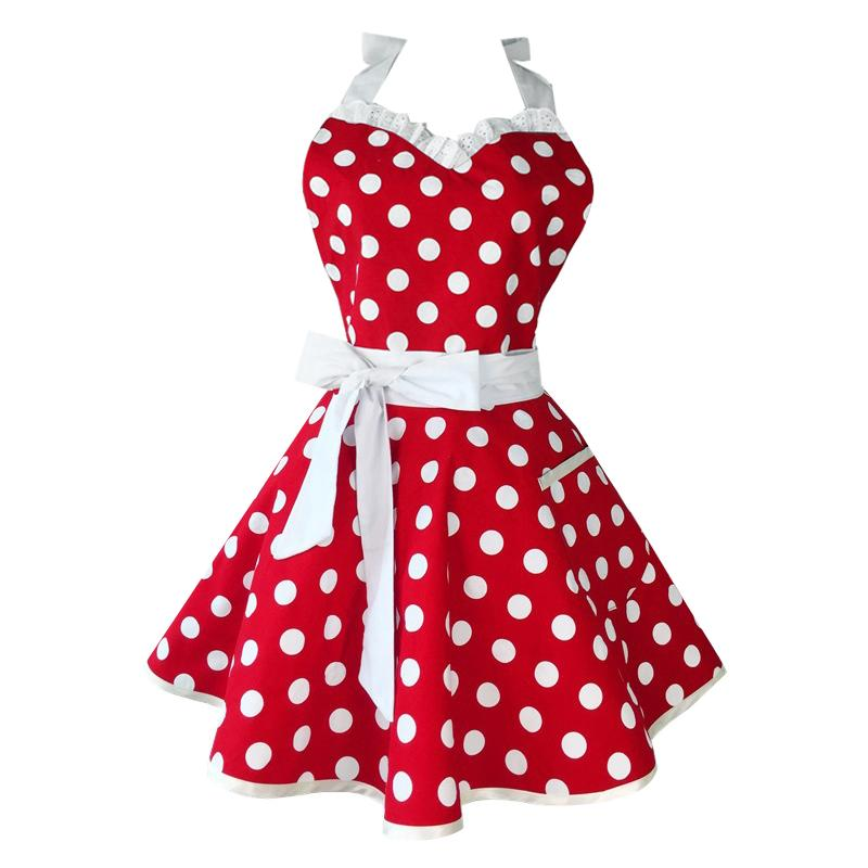Lovely Sweetheart Red Retro Kitchen Aprons Woman Girl Cotton Polka Dot Cooking Salon Vintage Apron Dress Christmas