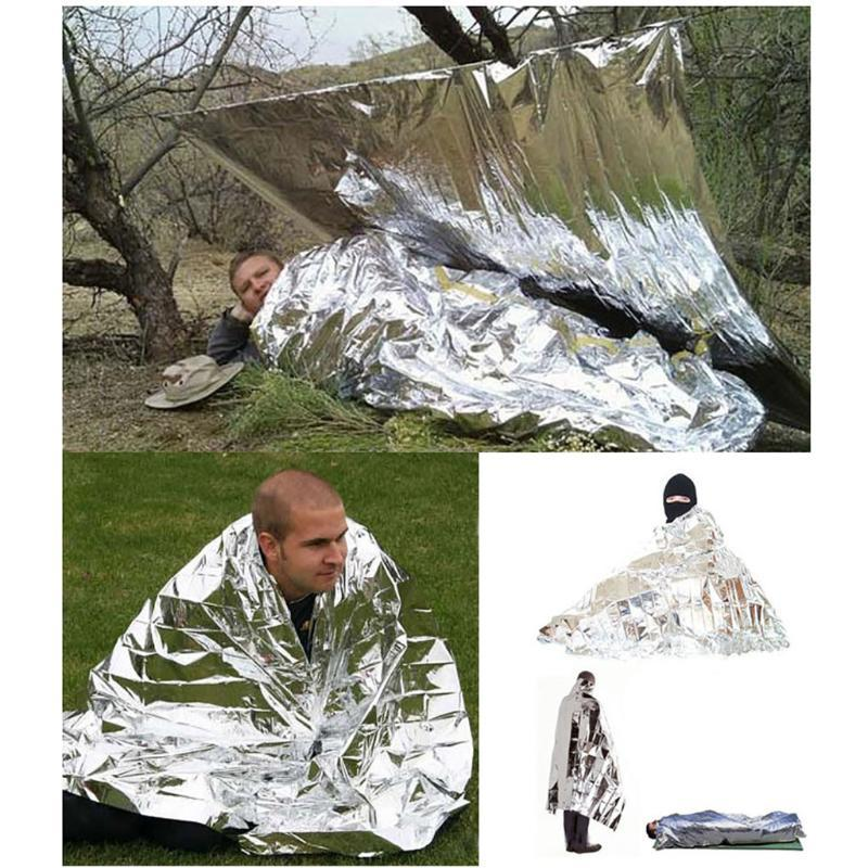 Outdoor Camping Emergency Tent Blanket Sleeping Bag Reflective Survival Shelter