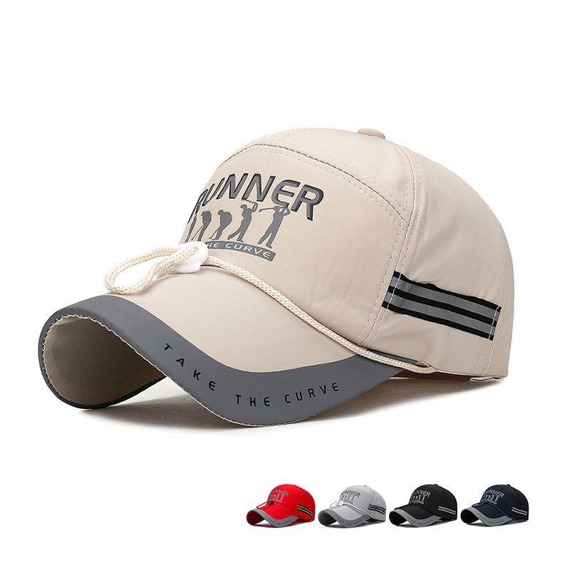 Alargar la gorra de béisbol del visera del sombrero de pesca Cuerda Noche reflectante rayas Sombrero de sol a prueba de viento grande de los hombres de los hombres del casquillo de