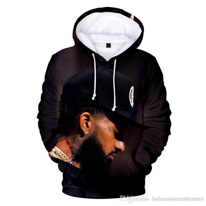 Nipsey Hussle Mens Hoodies Primavera Outono Rappers 3D Digital Impresso Hoodies Fashion Designer solto pulôver vestuário