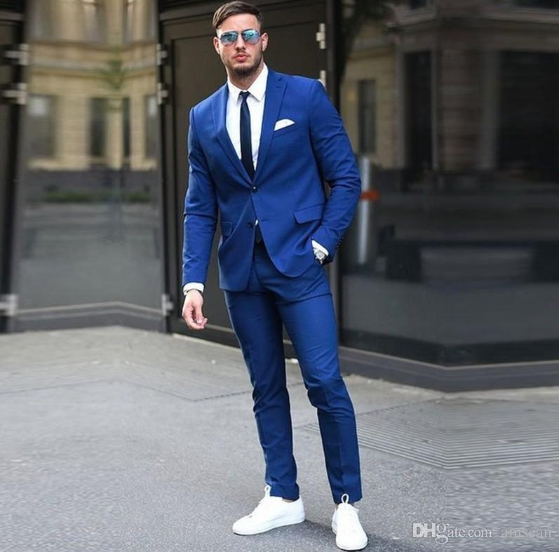 Custom made Two Buttons Royal Blue Men Suit 2019 Fashion Design Business Mens Tuxedo Skinny Style Men Prom Suits (Jacket+Pants) YM