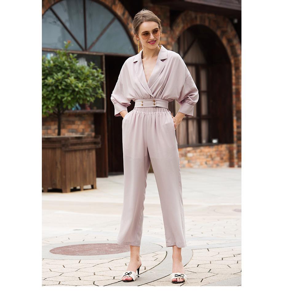 осень новый сексуальный костюм v-образный вырез тонкий короткий розовый длинный рукав короткий пальто формальных брюки костюм женщин