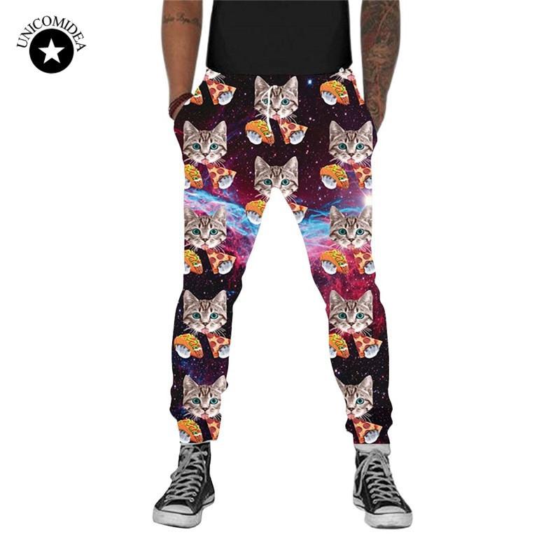 Streetwear Pantaloni 3d spazio stampa del gatto Pantaloni Jogger Pant pista degli uomini divertente Donne Pizza Cat Pantaloni Galaxy Sweatpant Large Size