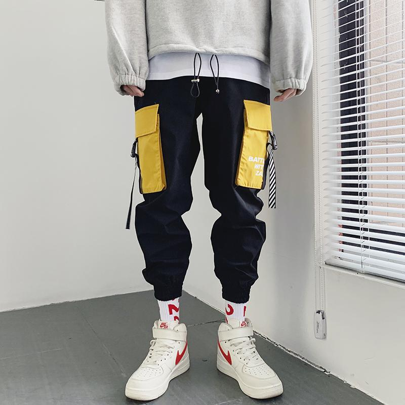 패션 패치 워크 남성 카고 바지 큰 포켓 남성 바지 포켓 가죽 끈 캐주얼 남성 Pantalones HOMBRES