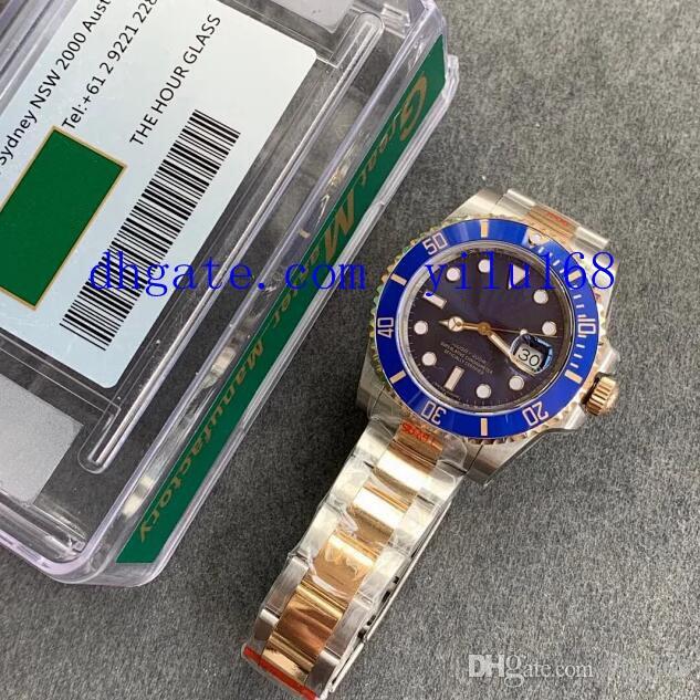 40mm Mens Top Quality Watch blue Ceramic Bezel GM 904L Steel 18K Gold Automatic Cal.3135 Men 116613 Eta Perpetual Sub Wristwatches