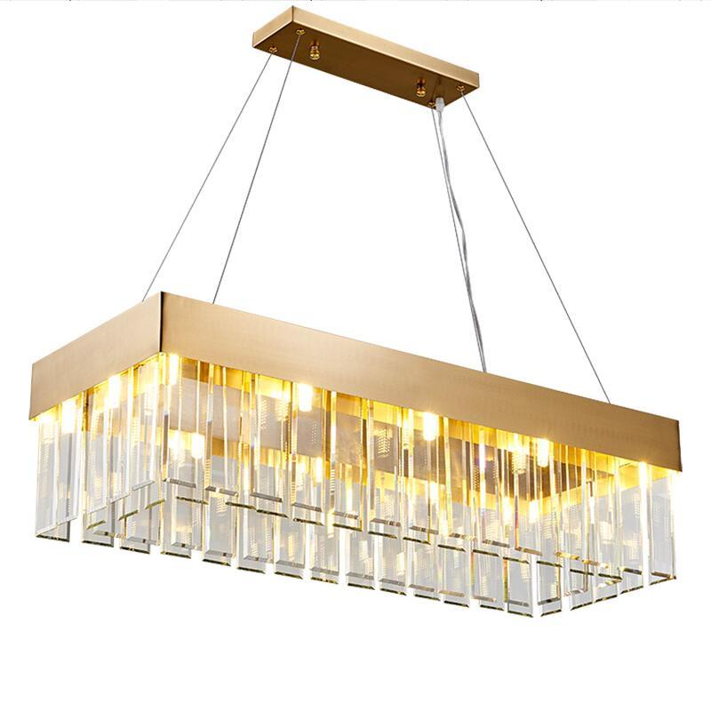 luxury creative rectangular crystal chandelier restaurant Hotel decorative lamp
