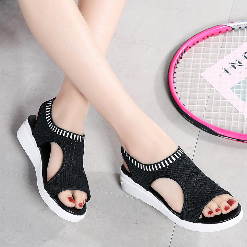 Tallas grandes Eu45 Sandalias de Mujer 2019 Nuevos Zapatos Femeninos Mujer Cuña de Verano Sandalias Confort Damas Sandalias Slingback Planas Sandalias de Mujer US13