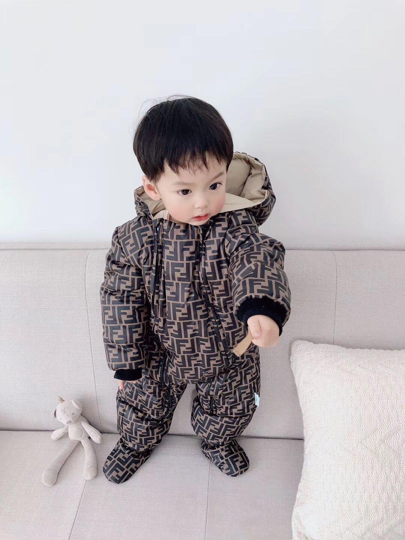 transporte livre neve novo ternos inverno moda bebê meninos bebê meninas crianças para baixo macacões infantis rompers conjuntos para 6-24month