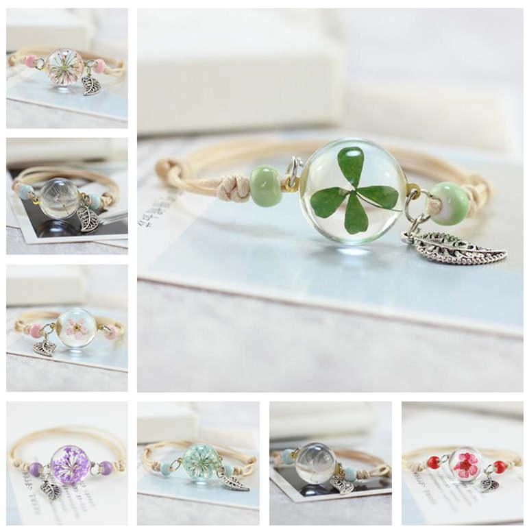 flowers plant specimens bracelet glass ball dandelion gown girlfriend girlfriend gift SSB107 mix order 20 pieces a lot Charm Bracelets