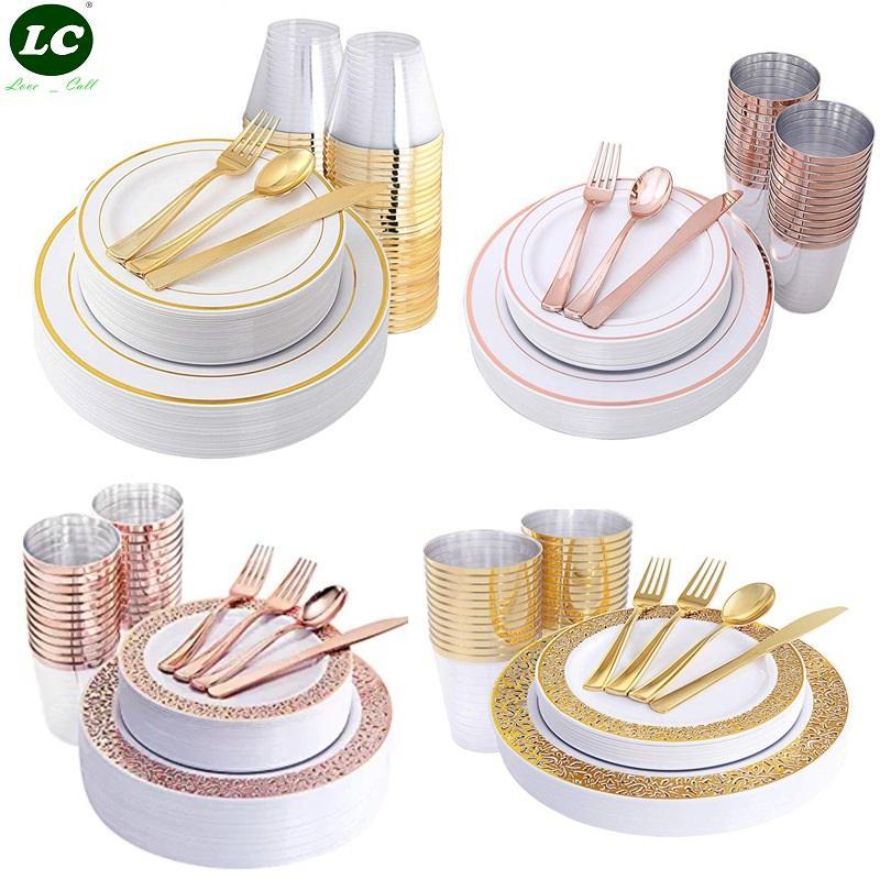 10person Einweg-Geschirr Geschirr Teller Partei Geschirr PVC Kunststoffplatten Gold Cup Messer, Gabel, Löffel Party Hochzeit Restaurant Supplies
