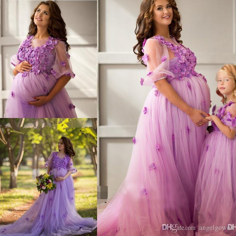 Compre Flores Vestidos De Baile Para Mujeres Embarazadas Nuevo 2019 Medias Mangas Cuello Transparente Primavera Vestidos Largos De Noche Tallas