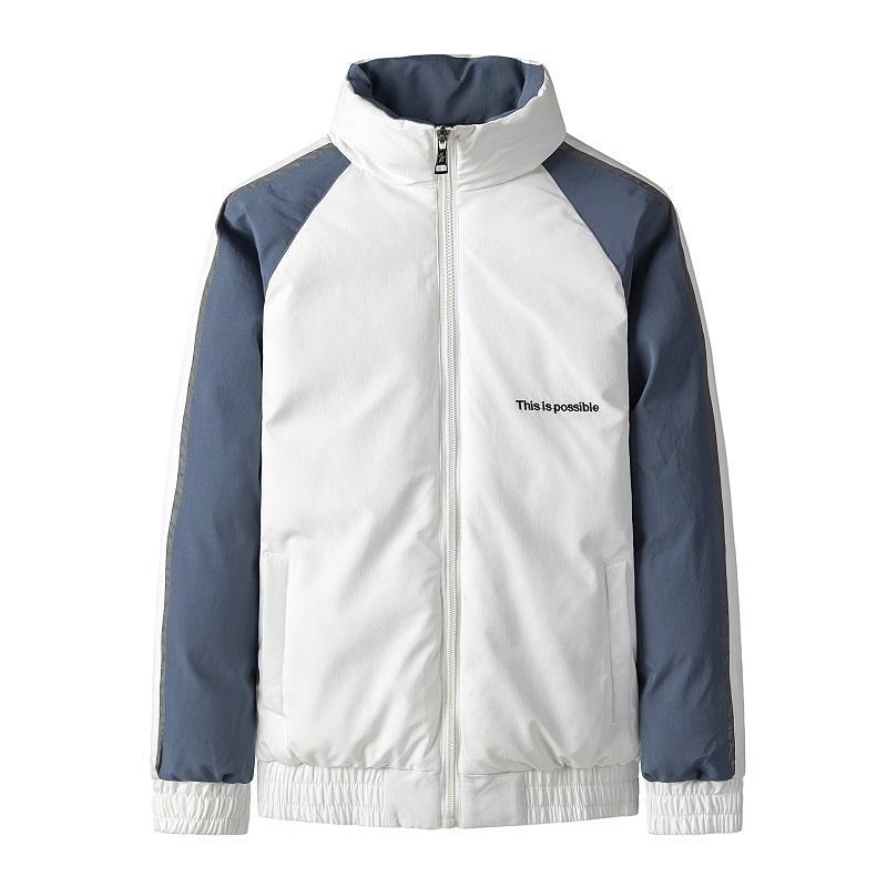 Street Herren Mantel Hit Farbe Spliced Cotton Kleidung Stehkragen M-4XL Schwarz Weiß Khaki Männer Baumwolljacke