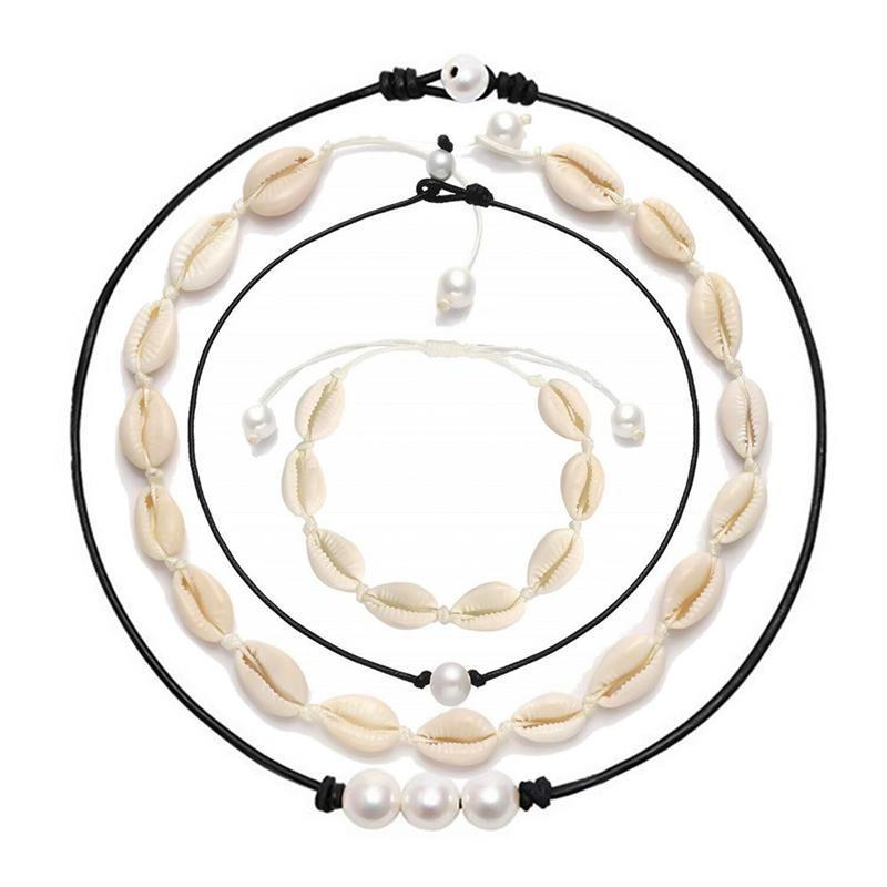 Яркая Луна Shell ожерелье Boho Тропический гавайский пляж Пука Chips Shell Surfer Choker ожерелье ювелирных изделий женщин людей