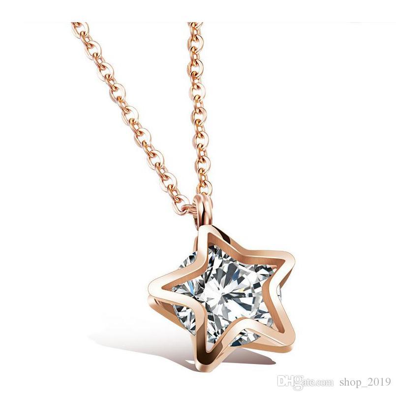 Frauen Zirkon Stern Schlüsselbein Titan Stahl Rose Gold-Farbe Halskette Anhänger Doppelstern simuliert Kristall Schmuck Mädchen Geschenk