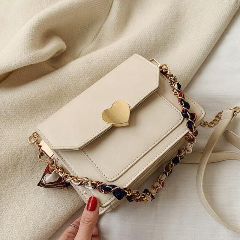 2020 Novo Messenger Bag Ombro Moda mulheres sacos Branco PU Mulheres Bolsas Studded Messenger Bag cadeia handbag
