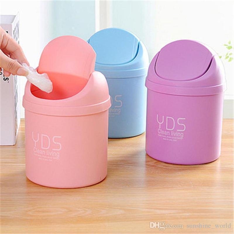 Criativo Mini desktop Waste Bin Office Home Garbage Basket Tabela Trash pode balançar com tampa lixeiras pequena reciclagem bin carro zero resíduos