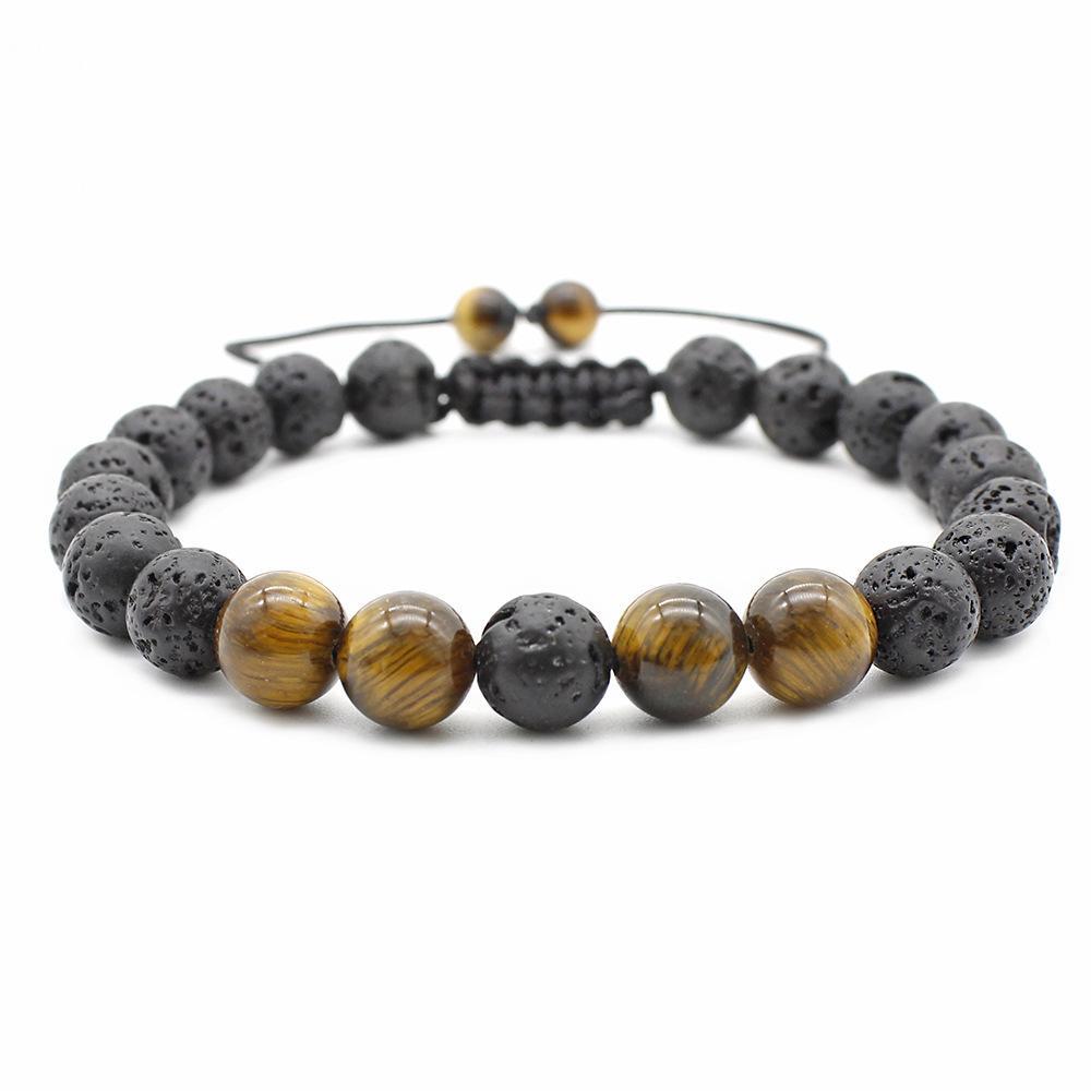 Chegada nova Tiger Eye Beads Pulseira para Mulheres Dos Homens Tamanho Ajustável 8mm Lava Stone Black Beads Trançado Pulseira Presente Da Jóia