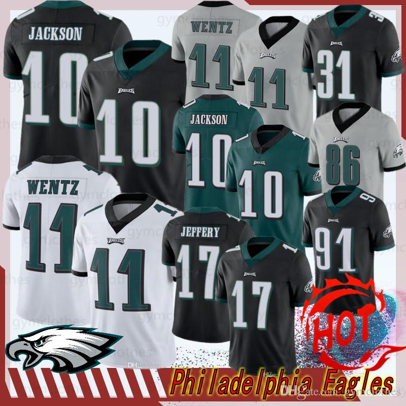 11 Carson Wentz Philadelphias novas camisas de Eagle 10 DeSean Jackson 86 Zach Ertz 20 Brian Dawkins 9 Nick Foles 19 JJ Arcega-Whiteside 91 Cox