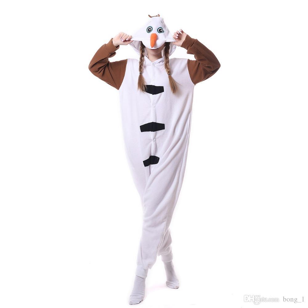 새로운 Unisex 성인 동물 눈사람 잠옷 만화 키 구미 온 쇼지 코스프레 의상 점프 슈트 크리스마스 선물 파티 착용