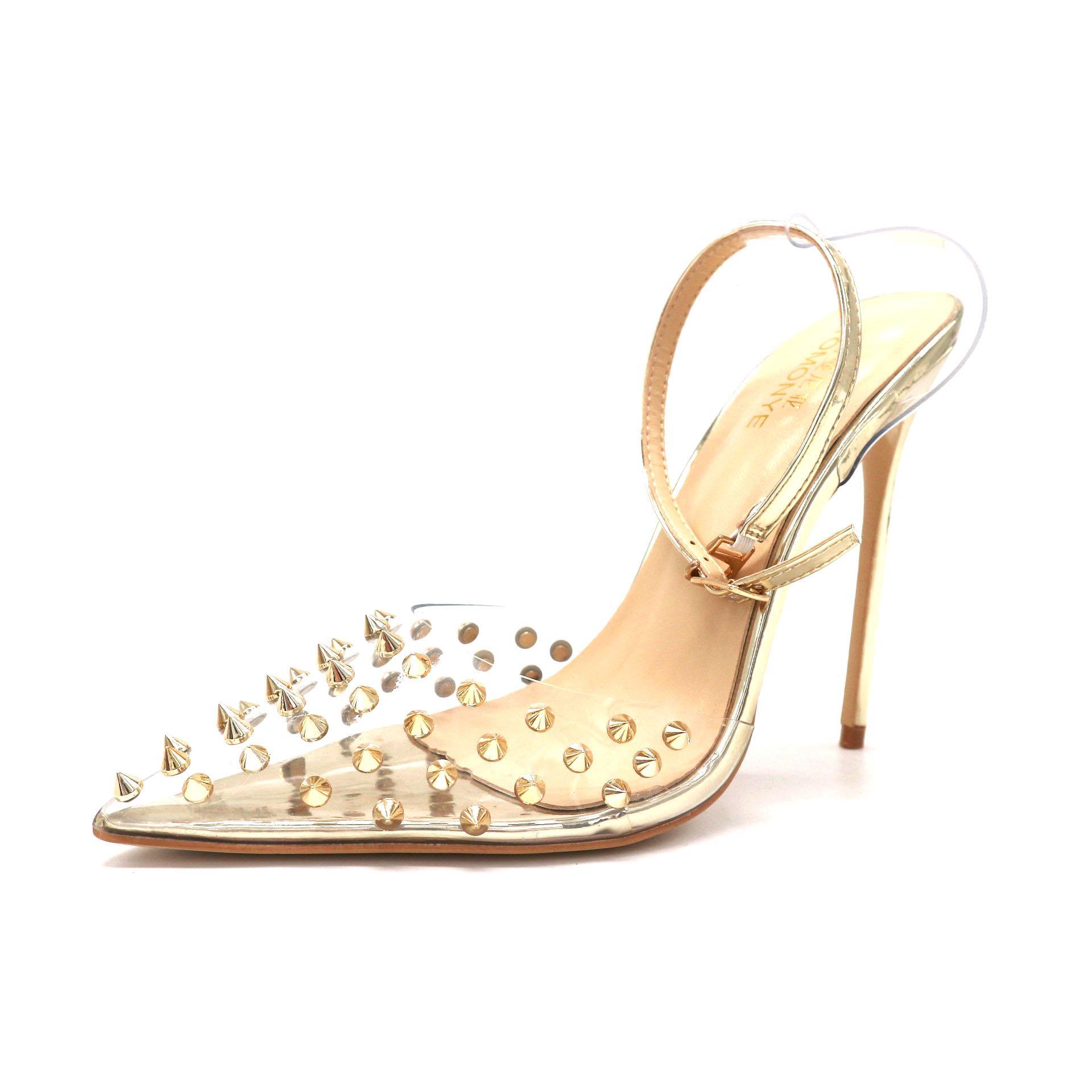 Ücretsiz nakliye moda Kadınlar yüksek topuklu gerçek fotoğraf 12cm altın rugan sıçramalarını perçinler striptizci noktası ayak gelin düğün ayakkabıları pompaları