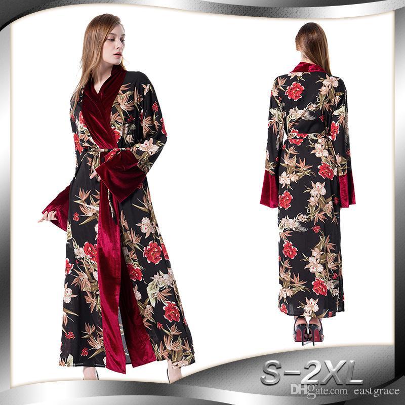 Pleuche лоскутное Дубай халат с поясом женщины мусульманский кардиган пальто плюс размер Абая кимоно кардиган Флора печати макси платья