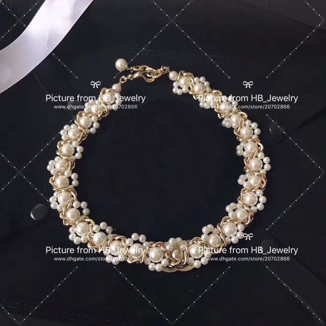 Gelin ile BOX için bayan Tasarım Kadınlar Partisi Düğün Aşıklar hediye Lüks Takı için popüler moda markası inci kolye bilezik