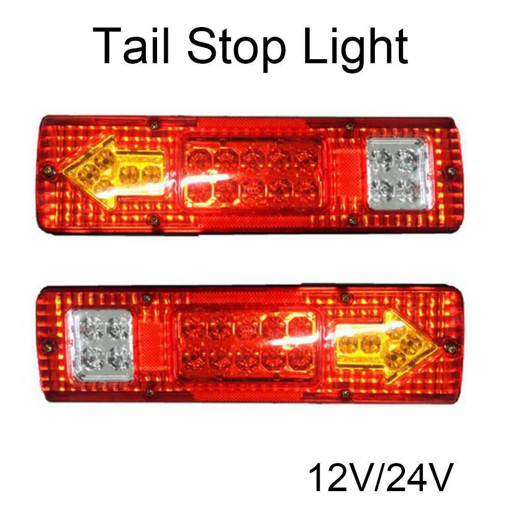 1 Çift Araba 19 Led Arka Işıklar Kuyruk Dur Ters Göstergesi Kamyon Römork Karavan Van Arka Lambası 12-24 V