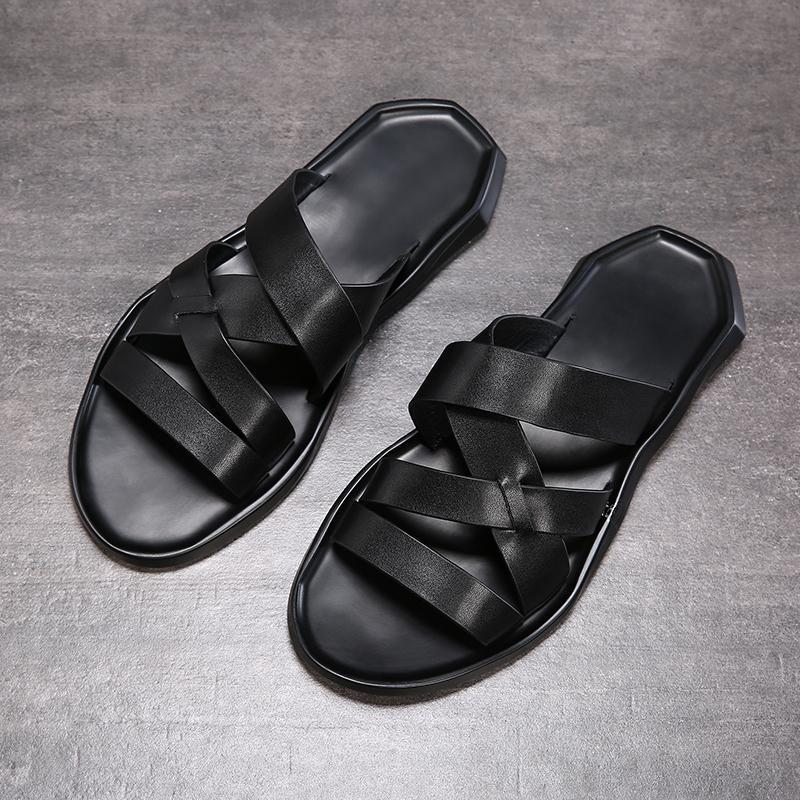 sandalia de los zapatos de cuero capa superior de playa 2019 nueva del verano de los hombres del fasion casuales transpirable antideslizante suela blanda de la sandalia de los hombres
