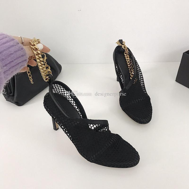 النساء الصنادل الصنادل جلد نابا اصبع القدم المدببة شبكة الأحذية ثوب مثير سلسلة الخنجر كعب مضخات الفاخرة مصمم الأزياء