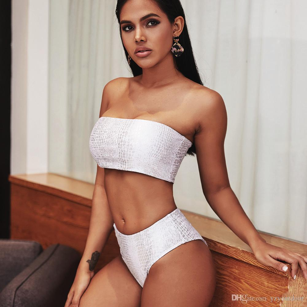 Bikini 2020 Bandeau cintura alta terno de banho Mulher Branco Swimsuit Feminino biquini brilhante Sexy Swimwear Mulheres New