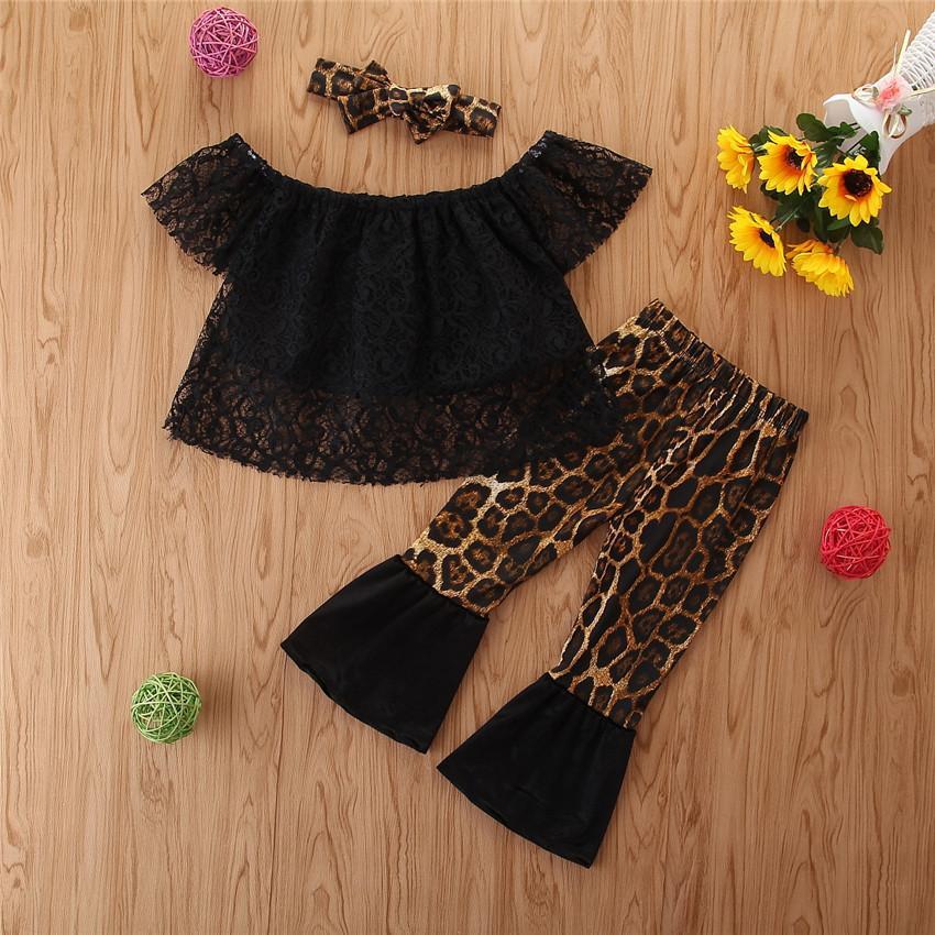 2020 Kinder Mädchen-Kleidung Mode Sommer-Schwarz-Spitze-Tops + Leopard Flare Pants + Schmetterlings-Bogen-Stirnband 3 Stück-Kind-Mädchen-Kleidungs-Satz