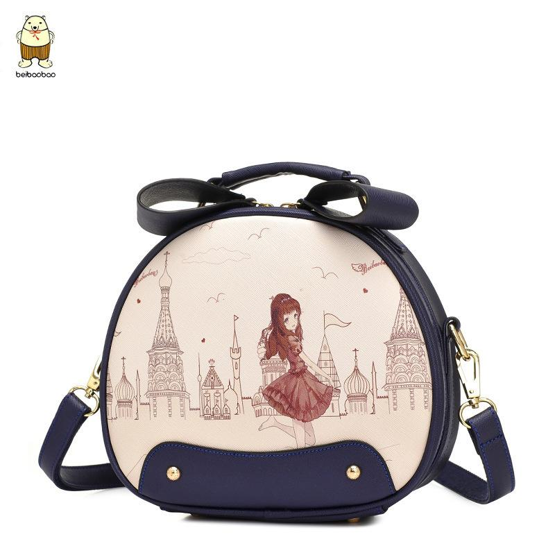 Superior2019 Day Bag North Han Cute Girl Student Oblique Satchel Leisure Time Round Packet Printing Cartoon Single Shoulder Package Hand