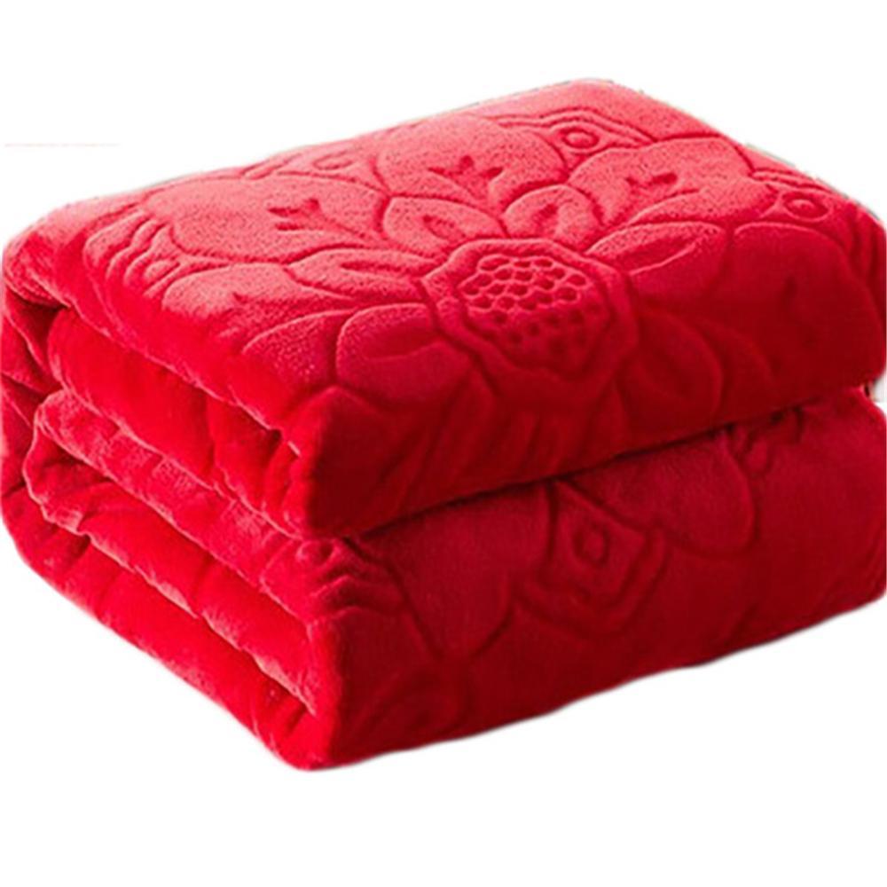 Super suave Faux Fur Coral Fleece Mantas gofradas Mink Throw Color sólido Sofá de invierno Funda de sábana cálida Sofá manta de tela escocesa